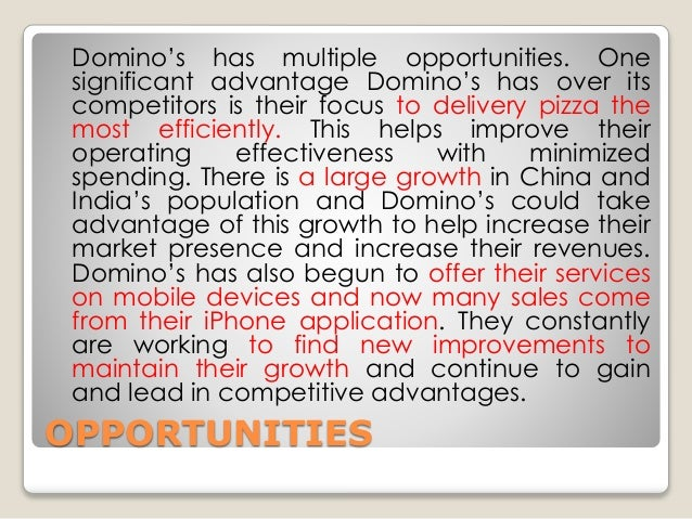 swot analysis of dominos pizza in india This article discusses the swot analysis of pizza hut the food and beverages business environment in india is ripe and pizza hut.