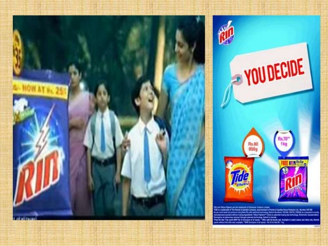 rin vs tide Rin vs tide category: advertising, compare and contrast rin v/s tide faculty:prof uday shankar module: ad sales and management date: 6th september,2010 shruti tyagi roll no:51442 the tussle between the big two p&g and hul has been causing ripples in the industry since the launch of its rin versus tide.