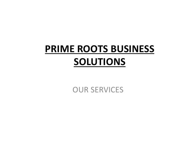 PRIME ROOTS BUSINESS SOLUTIONS OUR SERVICES