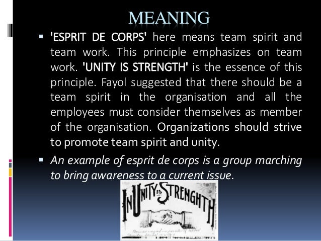 fayol esprit de corps Esprit de corps here fayol emphasises the need for building and maintaining of harmony among the work force , team work and sound interpersonal relationships.