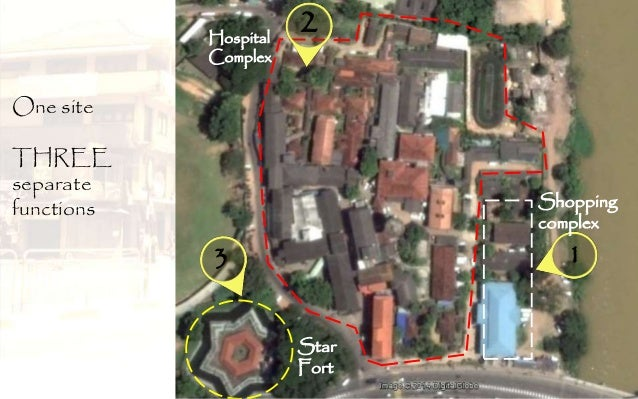 One site THREE separate functions 1 2 3 Shopping complex Hospital Complex Star Fort