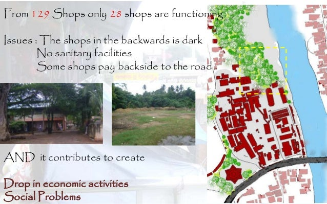 From 129 Shops only 28 shops are functioning Issues : The shops in the backwards is dark No sanitary facilities Some shops...