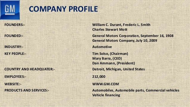 General motors for General motors company profile