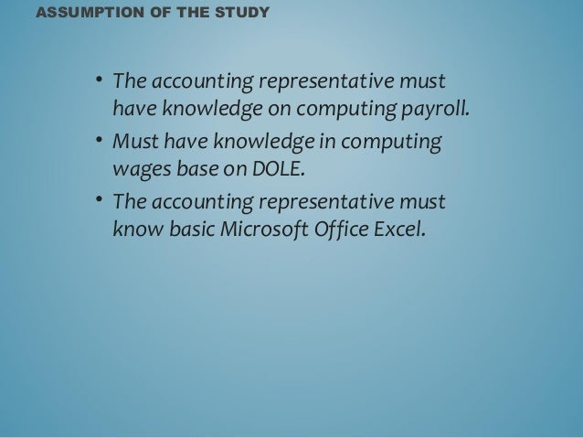 scope and delimitation for payroll system What are the benefits of the computerized payroll system  record of employee scope of  include the professor's salary computation delimitation of.