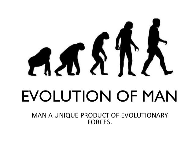 EVOLUTION OF MAN MAN A UNIQUE PRODUCT OF EVOLUTIONARY FORCES.