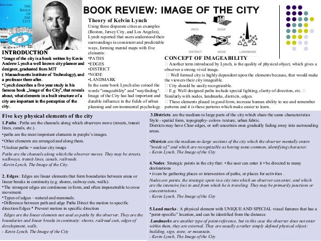 BOOK REVIEW: IMAGE OF THE CITY INTRODUCTION •Image of the city is a book written by Kevin Andrew Lynch a well known city p...