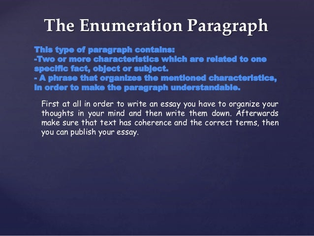 types of paragraph 3 the enumeration