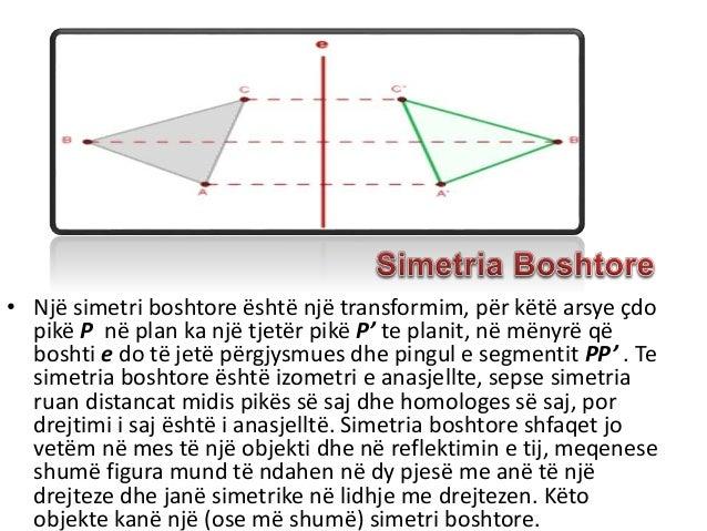 • Një simetri boshtore është një transformim, për këtë arsye çdo pikë P në plan ka një tjetër pikë P' te planit, në mënyrë...