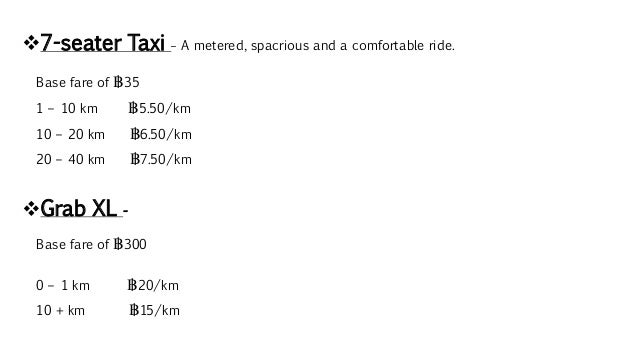 7-seater Taxi – A metered, spacrious and a comfortable ride. Base fare of ฿35 1 – 10 km ฿5.50/km 10 – 20 km ฿6.50/km 20 –...