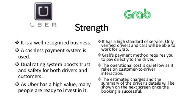Strength It has a high standard of service. Only verified drivers and cars will be able to work for Grab. Grab's payment...