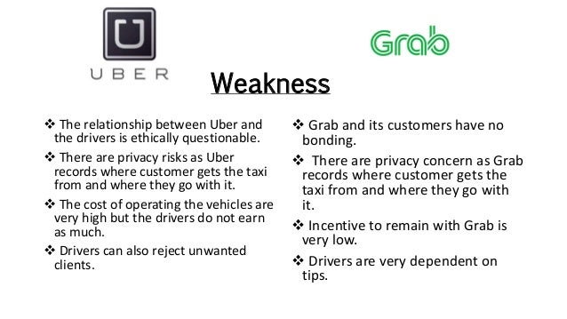 Weakness  Grab and its customers have no bonding.  There are privacy concern as Grab records where customer gets the tax...