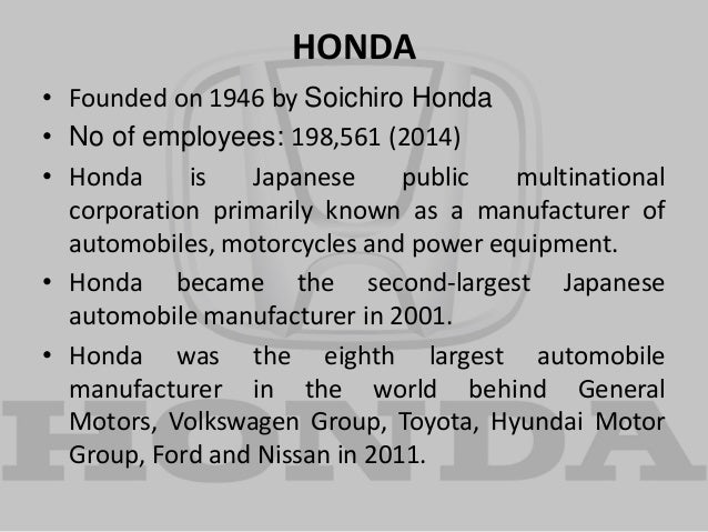 strategic management on honda motors At honda, we've always known that our success isn't measured solely by our products, but also by our efforts to make our world better.