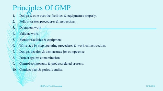 Good Manufacturing Practices Food Processing