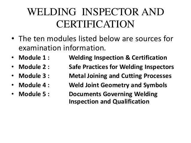 American Welding Society (AWS) Certifications for WELDING INSPECT…
