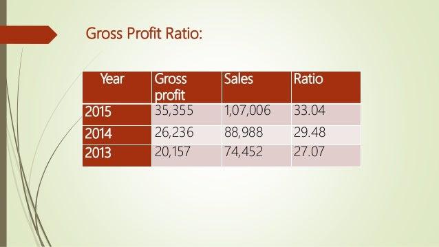 Year Net profit Sales Ratio 2015 596 107006 0.55 2014 -241 88,988 -0.27 2013 274 74,452 0.36 Net profit Ratio: