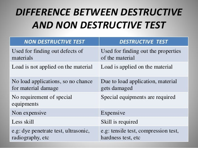 destructive and non destructive testing Destructive testing will render the part unusable for its intended purpose (eg it is cut up for analysis, or fatigue tested for life.