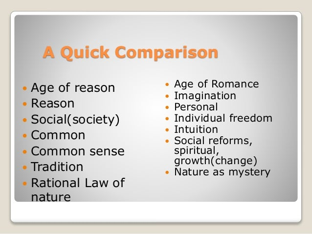 enlightenment and romanticism similarities