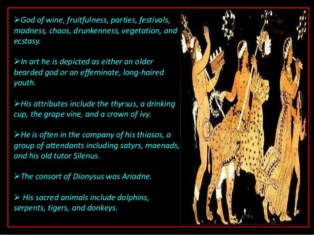 an analysis of the greek god of wine and vegetation dionysus - dionysus - the ancient greek god of wine, merry making, and madness dionysus is included in some lists of the twelve olympians of ancient greek religion dionysus was the last god to be accepted into mt olympus.