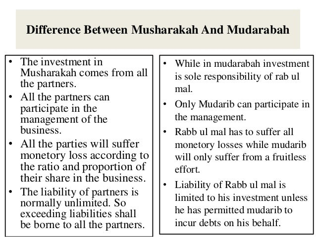 Difference between musharakah and mudarabah investment mutual funds growth or dividend reinvestment plans