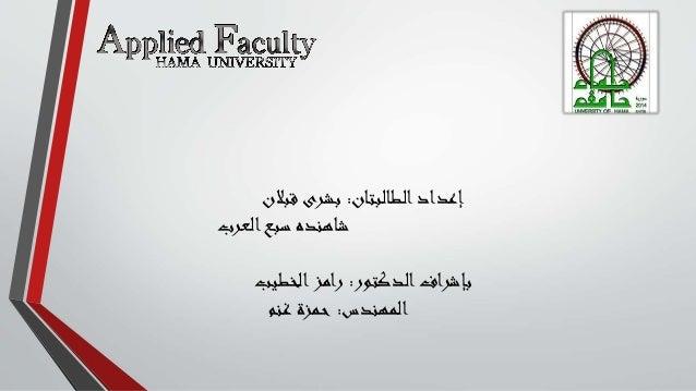 الطالبتانإعداد:قبالن بشرى العربسبع شاهنده الدكتوربإشراف:الخطيبرامز المهندس:غنم حمزة