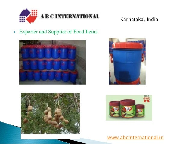  Exporter and Supplier of Food Items www.abcinternational.in Karnataka, India