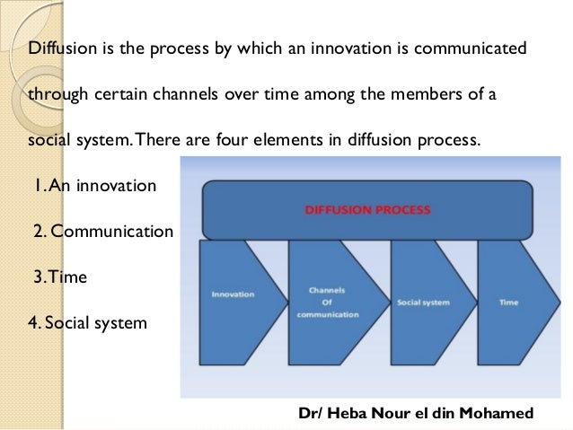Diffusion is the process by which an innovation is communicated through certain channels over time among the members of a ...