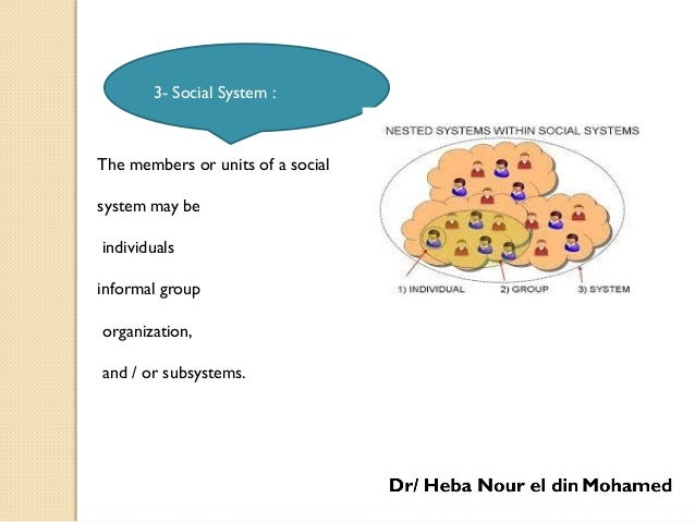The members or units of a social system may be individuals informal group organization, and / or subsystems. 3- Social Sys...