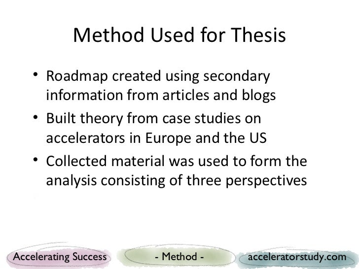 Method Used for Thesis    • Roadmap created using secondary      information from articles and blogs    • Built theory fro...