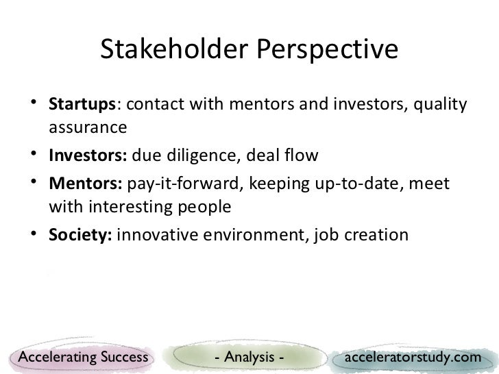 Stakeholder Perspective • Startups: contact with mentors and investors, quality   assurance • Investors: due diligence, de...