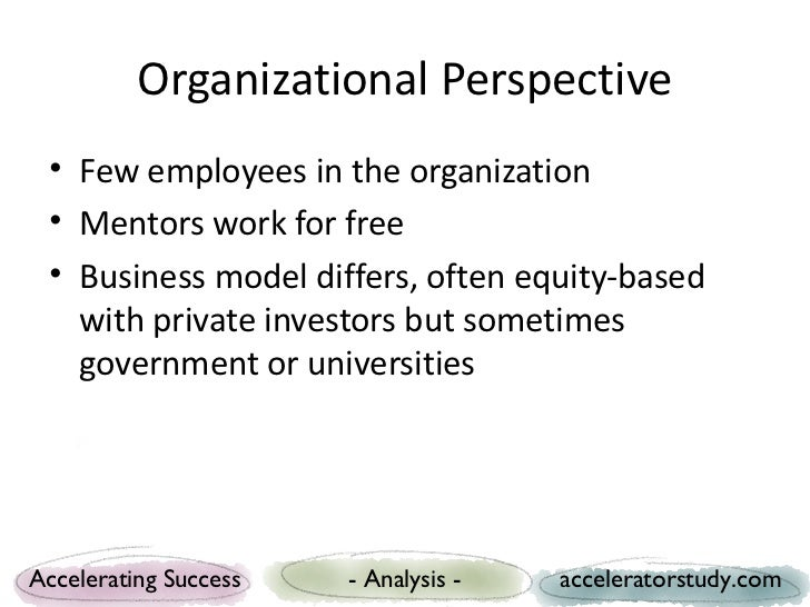 Organizational Perspective • Few employees in the organization • Mentors work for free • Business model differs, often equ...