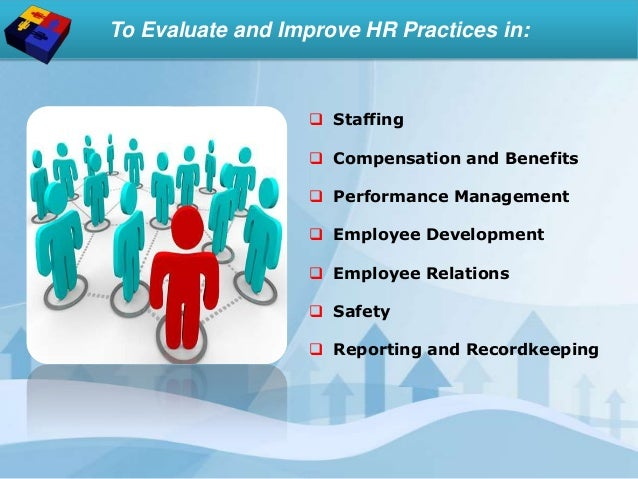 To Evaluate and Improve HR Practices in:  Staffing  Compensation and Benefits  Performance Management  Employee Develo...