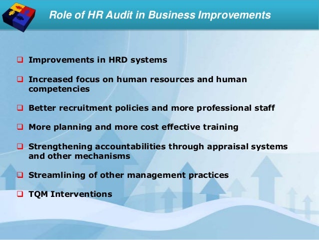 Role of HR Audit in Business Improvements  Improvements in HRD systems  Increased focus on human resources and human com...