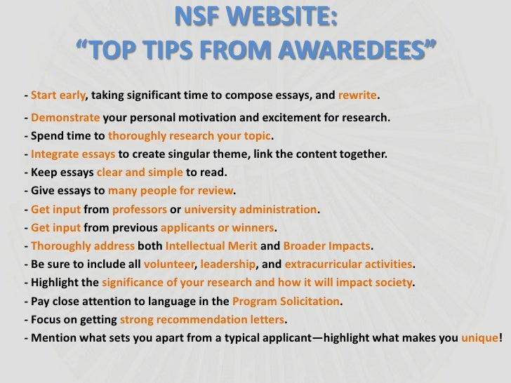 writing nsf fellowship essays