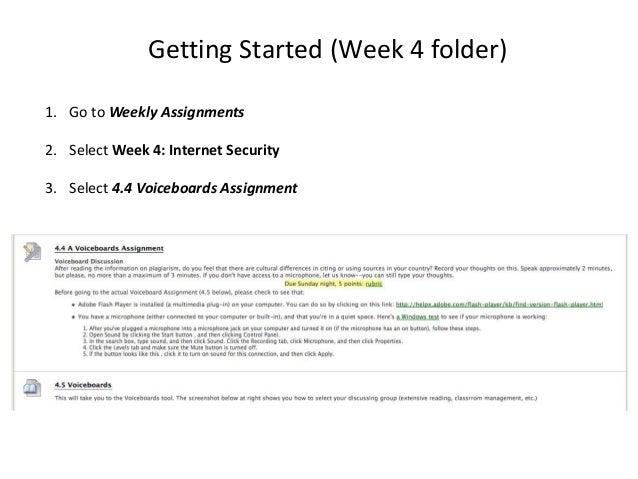 Getting Started (Week 4 folder)1. Go to Weekly Assignments2. Select Week 4: Internet Security3. Select 4.4 Voiceboards Ass...
