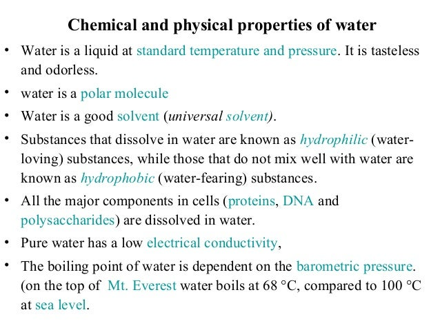 Physical Properties Of Water For Life