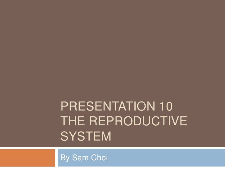PRESENTATION 10THE REPRODUCTIVESYSTEMBy Sam Choi