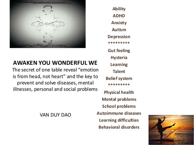 Physical health Mental problems School problems Autoimmune diseases Learning difficulties Behavioral disorders Gut feeling...