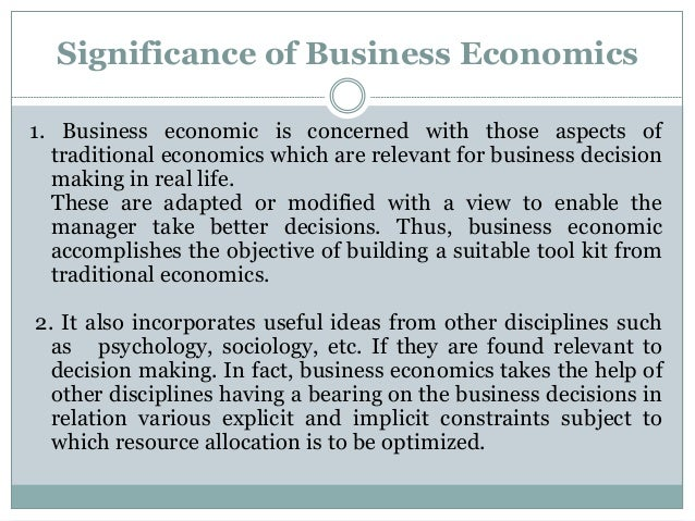 29 significance of business economics