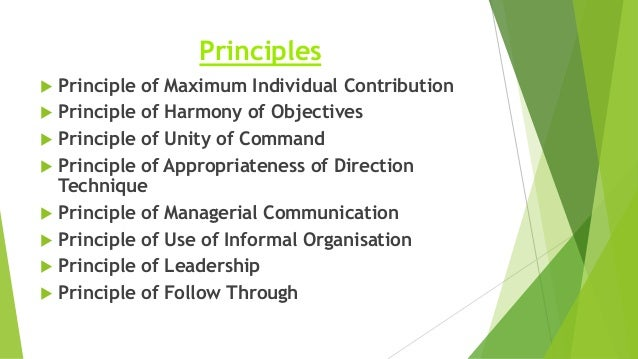 directing function of principles of management Managers just don't go out and haphazardly perform their responsibilities good managers discover how to master five basic functions: planning, organizing, staffing, leading, and controlling planning: this step involves mapping out exactly how to achieve a particular goal say, for example, that the organization's goal is to.