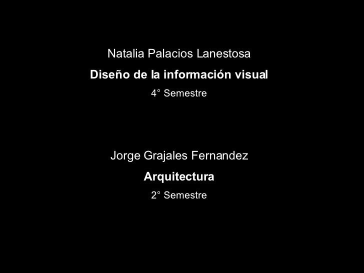 Natalia Palacios Lanestosa Diseño de la información visual 4° Semestre Jorge Grajales Fernandez Arquitectura 2° Semestre