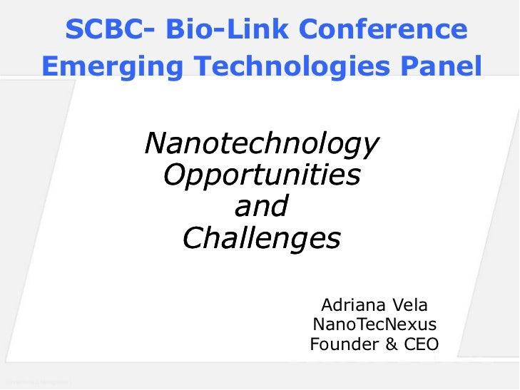 SCBC- Bio-Link Conference          Emerging Technologies Panel                      Nanotechnology                       O...