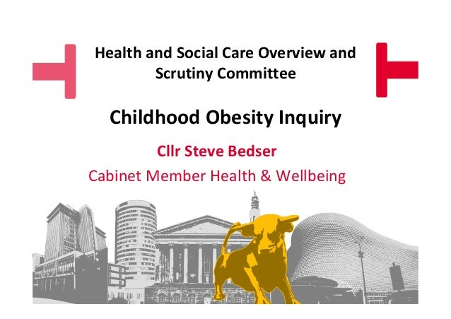 Health and Social Care Overview and Scrutiny Committee  Childhood Obesity Inquiry Cllr Steve Bedser Cabinet Member Health ...