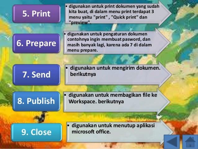 """• digunakan untuk print dokumen yang sudah kita buat, di dalam menu print terdapat 3 menu yaitu """"print"""" , """"Quick print"""" da..."""