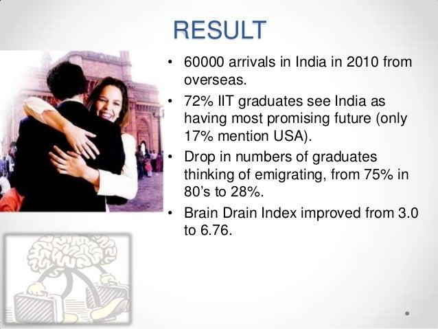 RESULT • 60000 arrivals in India in 2010 from overseas. • 72% IIT graduates see India as having most promising future (onl...