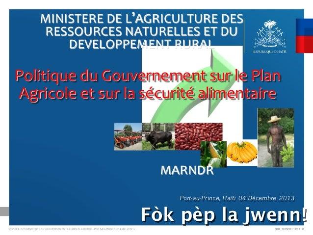 MINISTERE  DE  L AGRICULTURE  DES   RESSOURCES  NATURELLES  ET  DU   DEVELOPPEMENT  RURAL       Poli...