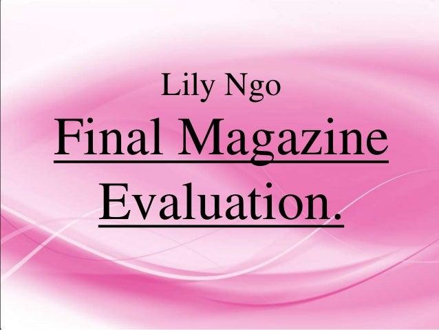Lily NgoFinal Magazine  Evaluation.