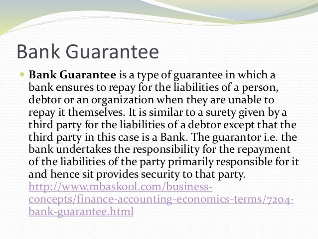 Presentation fake bank guarantee