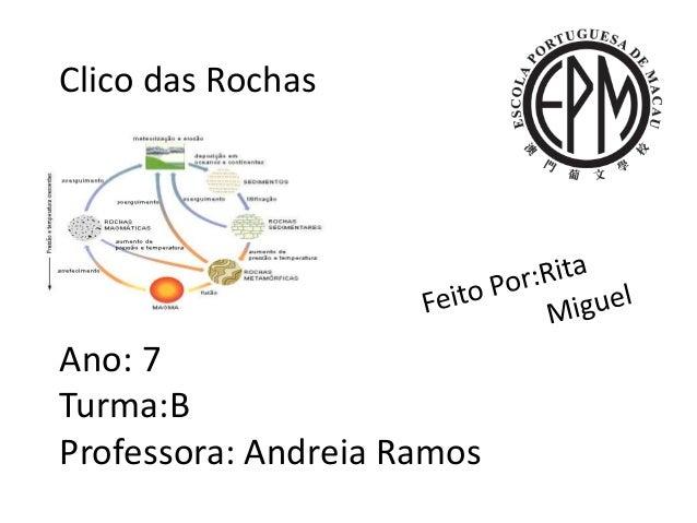 Clico das Rochas Ano: 7 Turma:B Professora: Andreia Ramos