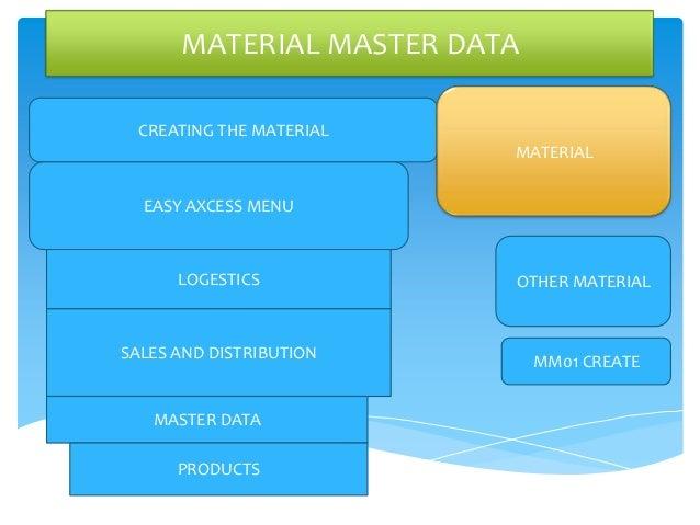 MATERIAL MASTER DATA CREATING THE MATERIAL                         MATERIAL  EASY AXCESS MENU      LOGESTICS          OTHE...