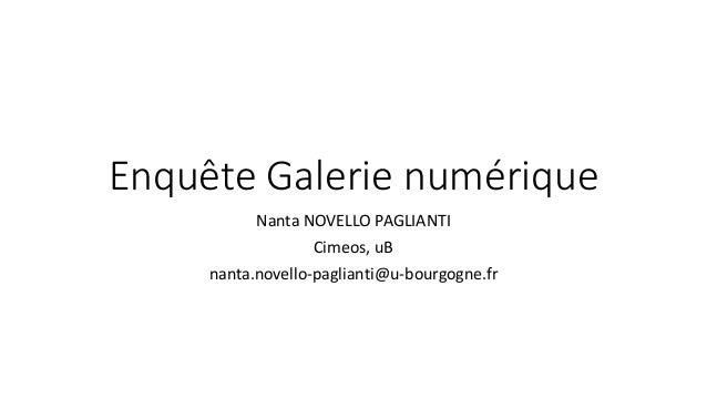 Enquête Galerie numérique Nanta NOVELLO PAGLIANTI Cimeos, uB nanta.novello-paglianti@u-bourgogne.fr